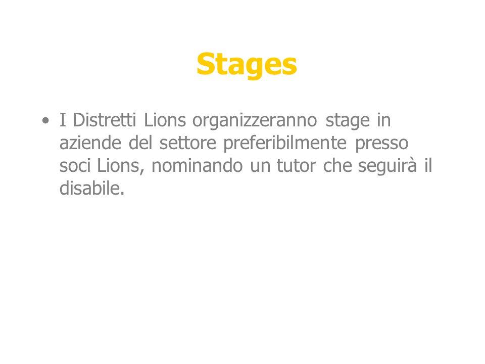 Stages I Distretti Lions organizzeranno stage in aziende del settore preferibilmente presso soci Lions, nominando un tutor che seguirà il disabile.