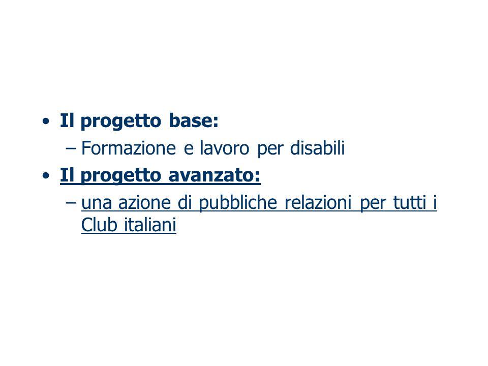 Il progetto base: –Formazione e lavoro per disabili Il progetto avanzato: –una azione di pubbliche relazioni per tutti i Club italiani