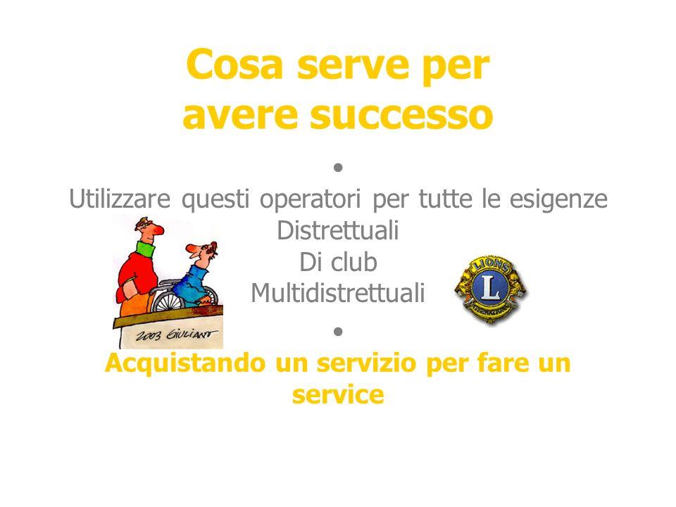 Cosa serve per avere successo Utilizzare questi operatori per tutte le esigenze Distrettuali Di club Multidistrettuali Acquistando un servizio per fare un service