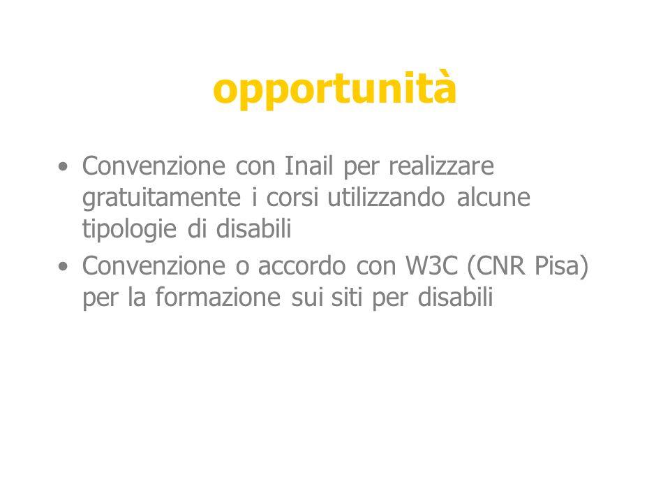opportunità Convenzione con Inail per realizzare gratuitamente i corsi utilizzando alcune tipologie di disabili Convenzione o accordo con W3C (CNR Pisa) per la formazione sui siti per disabili