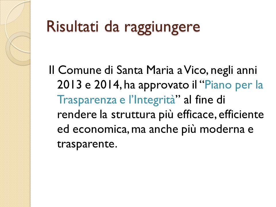 Risultati da raggiungere Il Comune di Santa Maria a Vico, negli anni 2013 e 2014, ha approvato il Piano per la Trasparenza e l'Integrità al fine di rendere la struttura più efficace, efficiente ed economica, ma anche più moderna e trasparente.