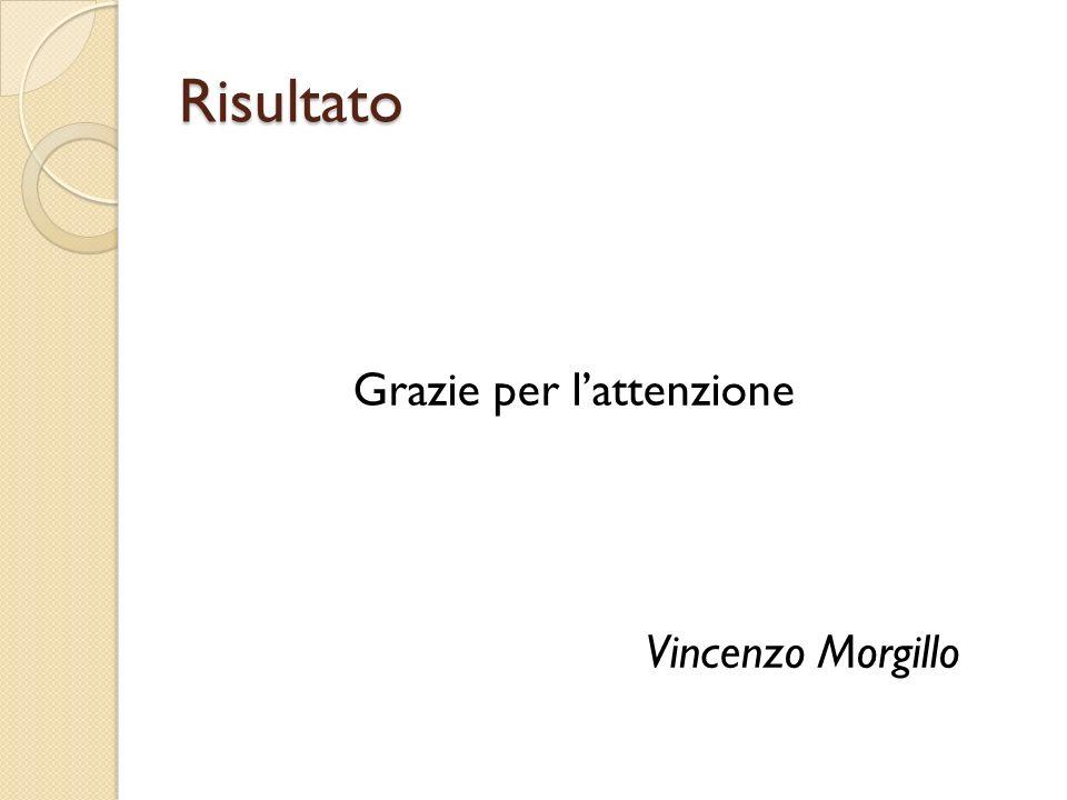 Risultato Grazie per l'attenzione Vincenzo Morgillo