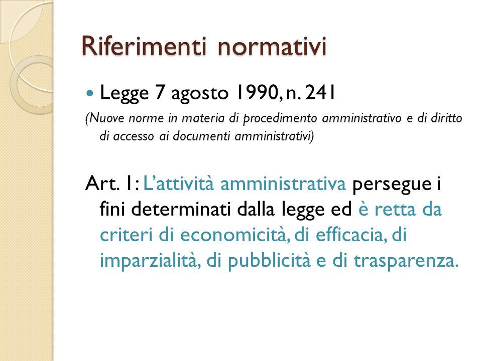Riferimenti normativi Legge 7 agosto 1990, n.