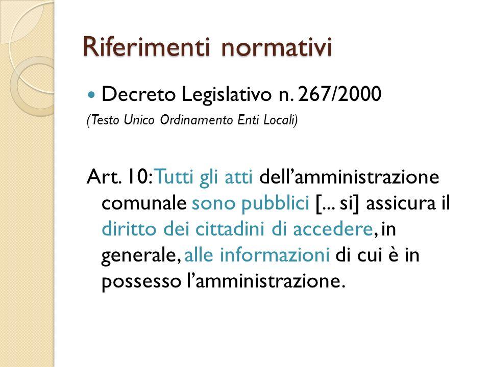 Riferimenti normativi Decreto Legislativo n. 267/2000 (Testo Unico Ordinamento Enti Locali) Art.