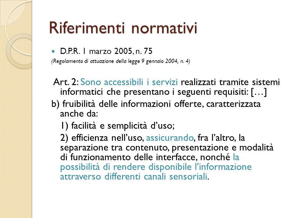 Riferimenti normativi D.P.R. 1 marzo 2005, n.