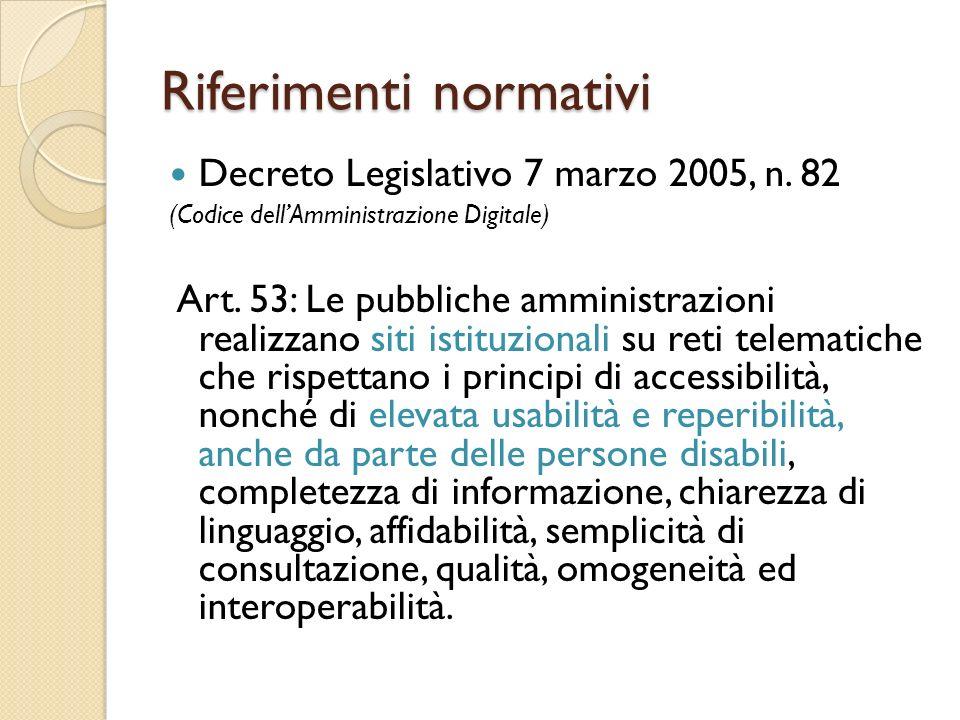 Riferimenti normativi Decreto Legislativo 7 marzo 2005, n.