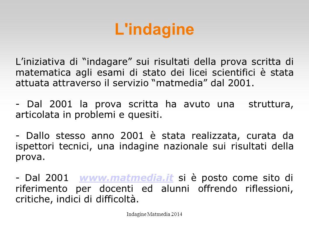 Indagine Matmedia 2014 L indagine L'iniziativa di indagare sui risultati della prova scritta di matematica agli esami di stato dei licei scientifici è stata attuata attraverso il servizio matmedia dal 2001.