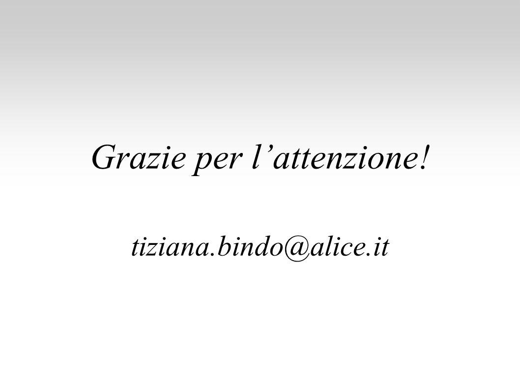 Grazie per l'attenzione! tiziana.bindo@alice.it