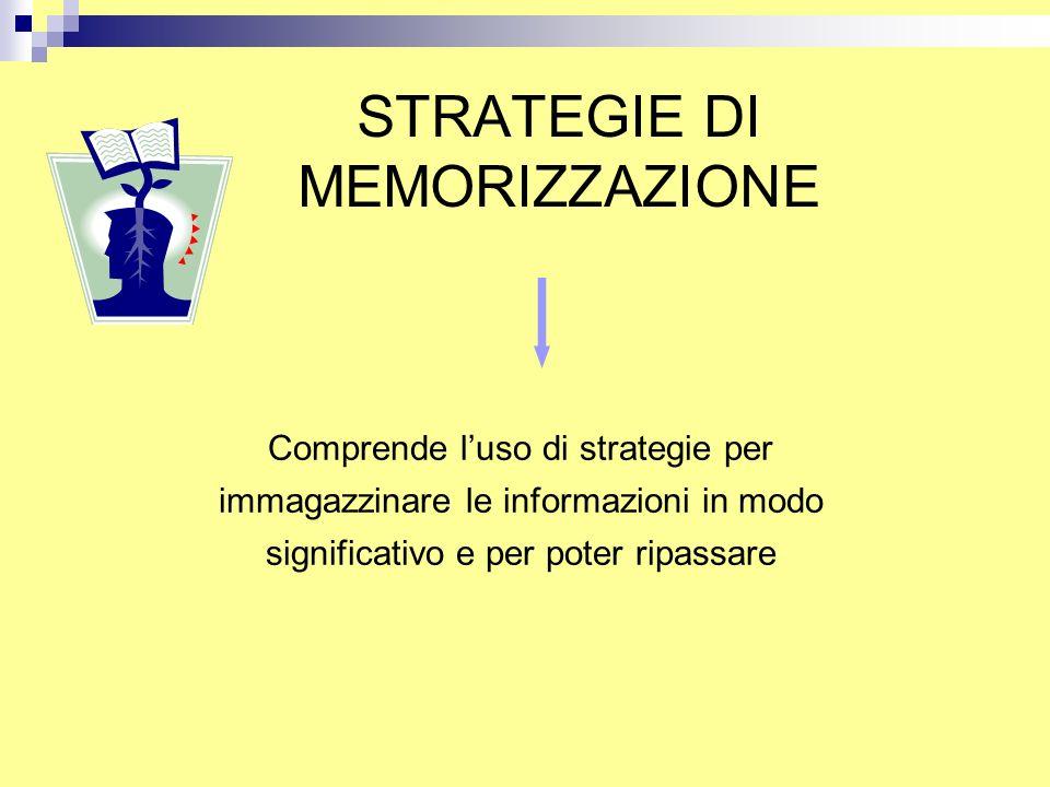 STRATEGIE DI MEMORIZZAZIONE Comprende l'uso di strategie per immagazzinare le informazioni in modo significativo e per poter ripassare