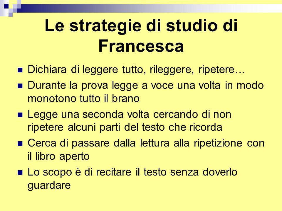 Le strategie di studio di Francesca Dichiara di leggere tutto, rileggere, ripetere… Durante la prova legge a voce una volta in modo monotono tutto il