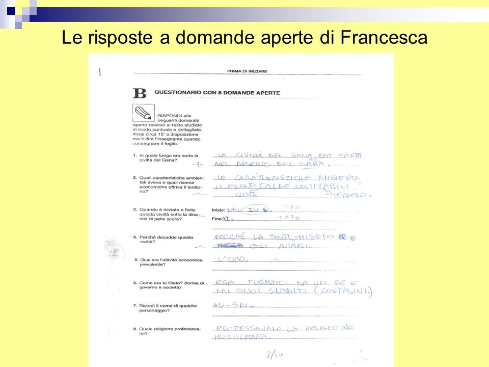 Le risposte a domande aperte di Francesca