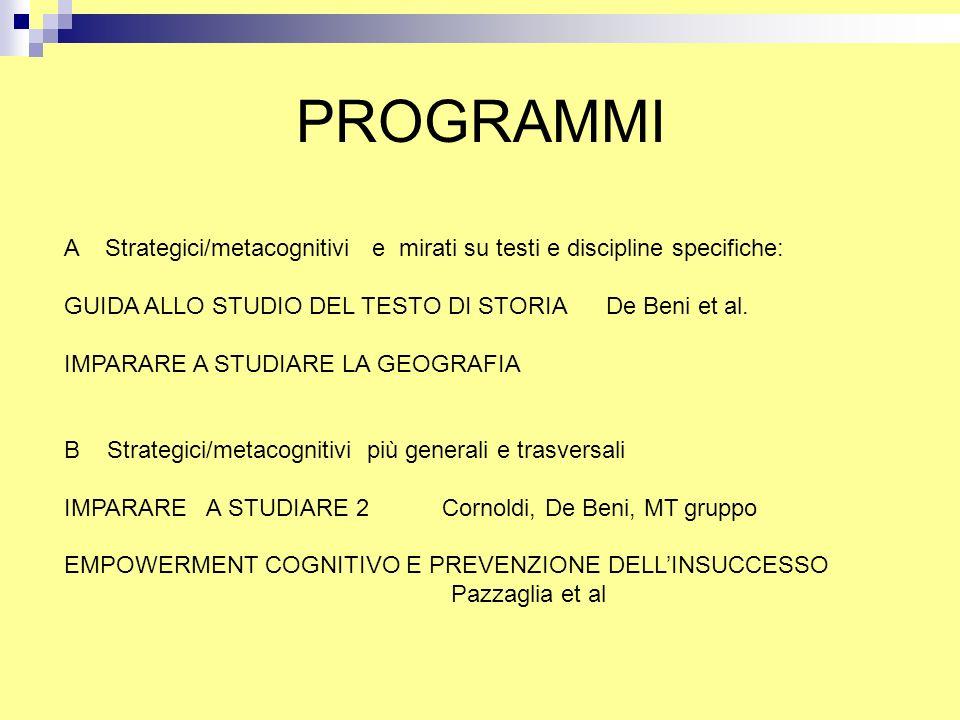 PROGRAMMI A Strategici/metacognitivi e mirati su testi e discipline specifiche: GUIDA ALLO STUDIO DEL TESTO DI STORIA De Beni et al. IMPARARE A STUDIA