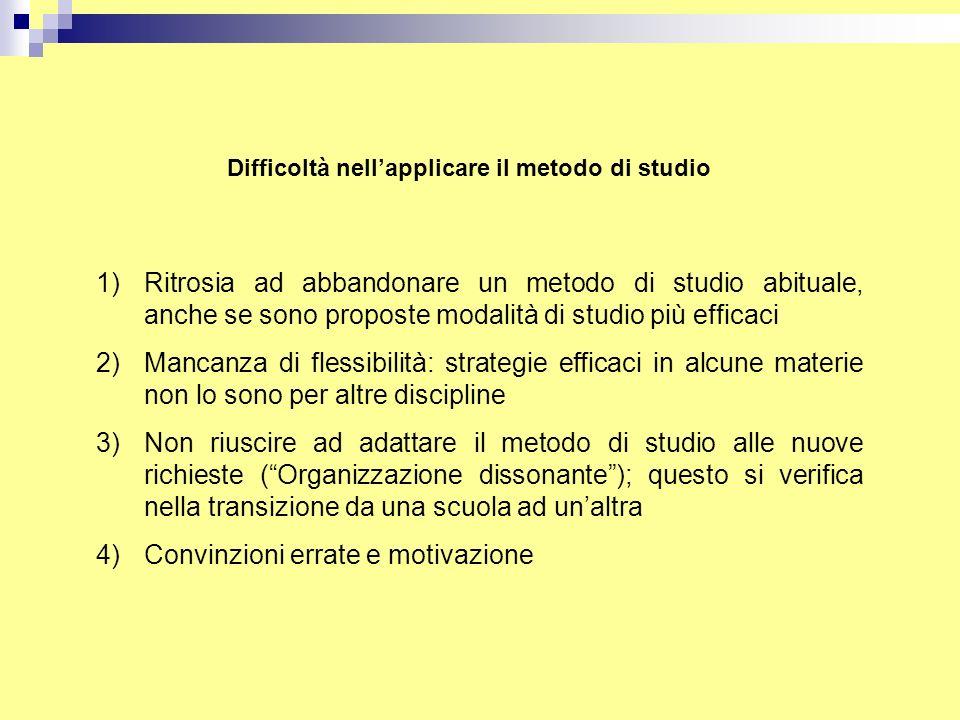 Difficoltà nell'applicare il metodo di studio 1)Ritrosia ad abbandonare un metodo di studio abituale, anche se sono proposte modalità di studio più ef