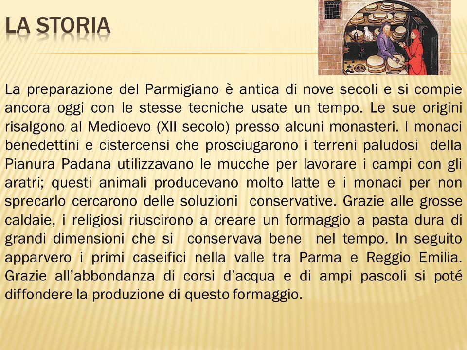La preparazione del Parmigiano è antica di nove secoli e si compie ancora oggi con le stesse tecniche usate un tempo. Le sue origini risalgono al Medi