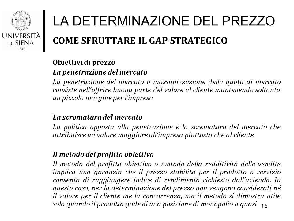 LA DETERMINAZIONE DEL PREZZO COME SFRUTTARE IL GAP STRATEGICO Obiettivi di prezzo La penetrazione del mercato La penetrazione del mercato o massimizza