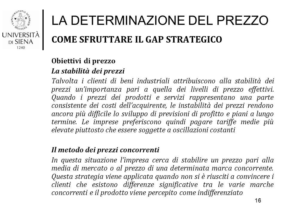 LA DETERMINAZIONE DEL PREZZO COME SFRUTTARE IL GAP STRATEGICO Obiettivi di prezzo La stabilità dei prezzi Talvolta i clienti di beni industriali attri