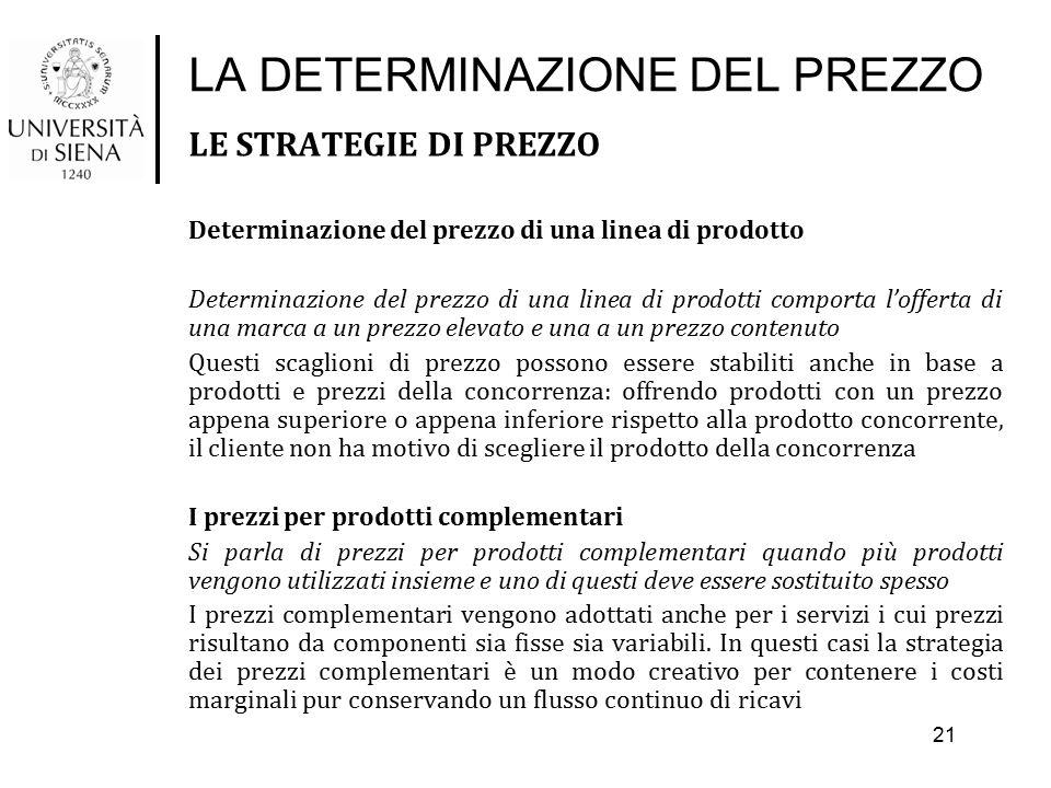 LA DETERMINAZIONE DEL PREZZO LE STRATEGIE DI PREZZO Determinazione del prezzo di una linea di prodotto Determinazione del prezzo di una linea di prodo