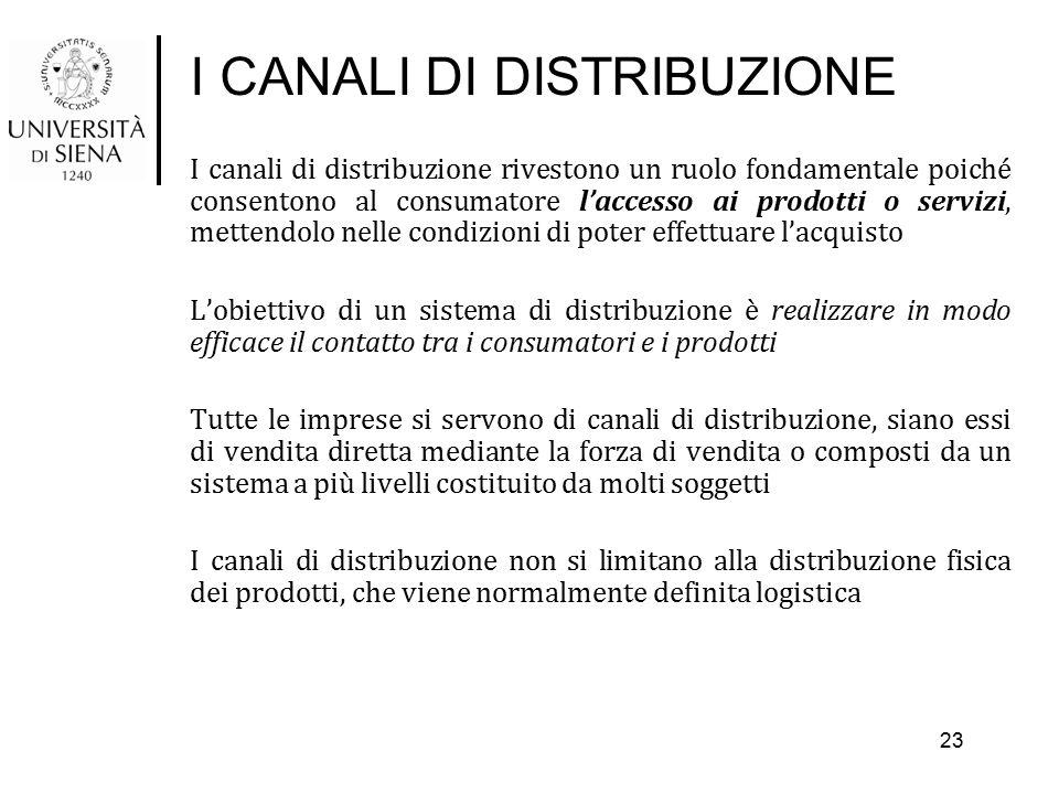 I CANALI DI DISTRIBUZIONE I canali di distribuzione rivestono un ruolo fondamentale poiché consentono al consumatore l'accesso ai prodotti o servizi,