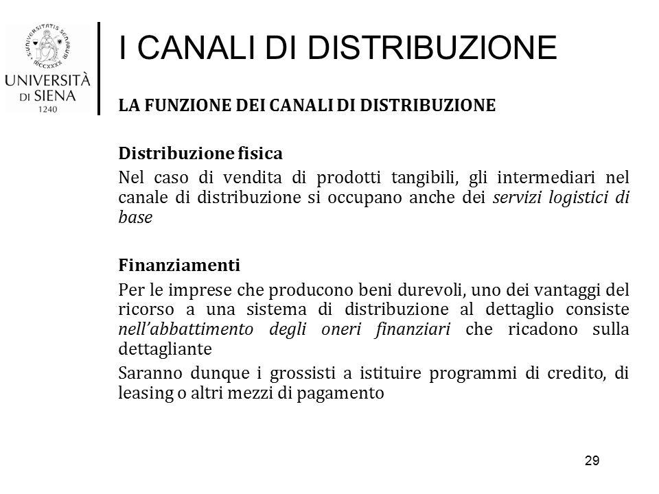 I CANALI DI DISTRIBUZIONE LA FUNZIONE DEI CANALI DI DISTRIBUZIONE Distribuzione fisica Nel caso di vendita di prodotti tangibili, gli intermediari nel