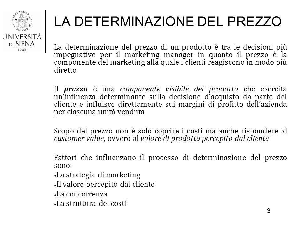 LA DETERMINAZIONE DEL PREZZO COME SFRUTTARE IL GAP STRATEGICO La determinazione del prezzo si risolve nella scelta del valore che si intende ottenere per l'impresa e quello che si vuole offrire alle cliente I fattori che influenzano questa decisione sono: Stadio del ciclo di vita del prodotto Obiettivi di prezzo Penetrazione Scrematura del mercato Redditività dell'investimento Stabilità Prezzi concorrenti Condizioni del settore Minaccia di nuovi concorrenti Potere dell'acquirente/ fornitore Rivalità Prodotti sostitutivi Capacità produttiva Aspetti psicologici Prezzo di riferimento Rapporto prezzo/ qualità percepita Soglie psicologiche Il soggetto che decide l'acquisto 14