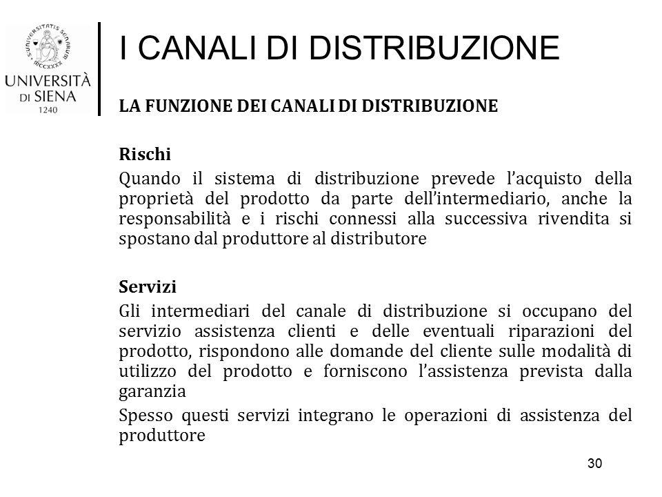 I CANALI DI DISTRIBUZIONE LA FUNZIONE DEI CANALI DI DISTRIBUZIONE Rischi Quando il sistema di distribuzione prevede l'acquisto della proprietà del pro