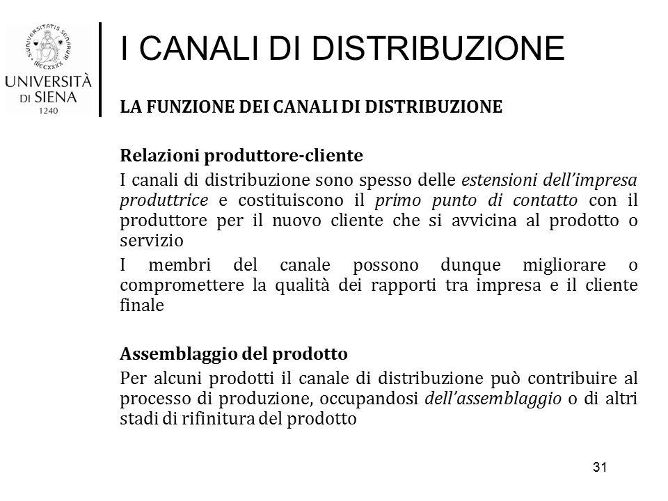 I CANALI DI DISTRIBUZIONE LA FUNZIONE DEI CANALI DI DISTRIBUZIONE Relazioni produttore-cliente I canali di distribuzione sono spesso delle estensioni
