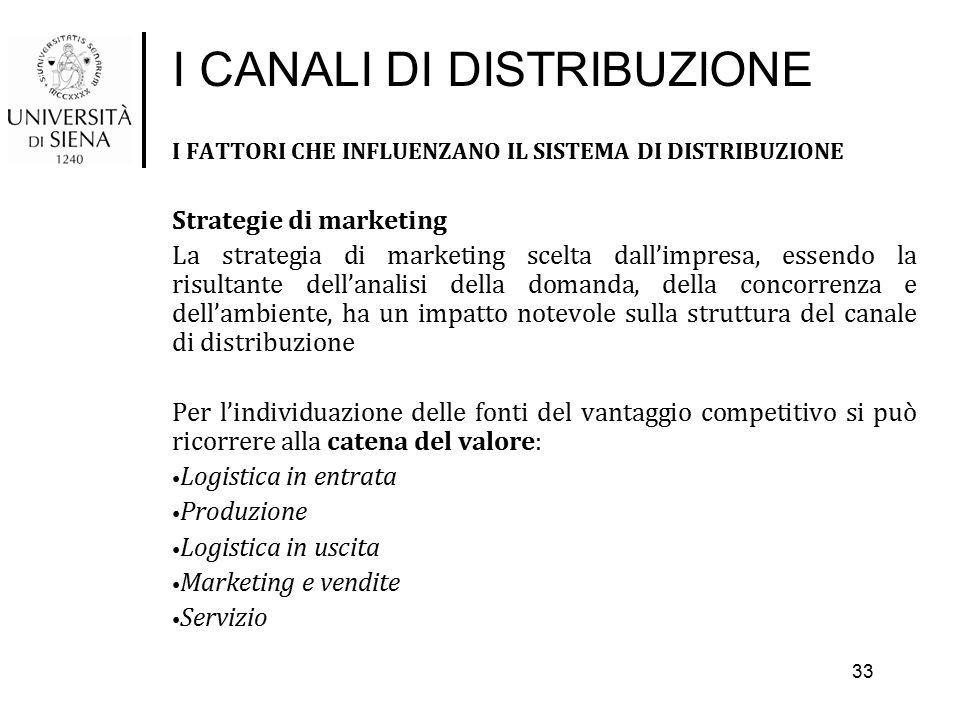 I CANALI DI DISTRIBUZIONE I FATTORI CHE INFLUENZANO IL SISTEMA DI DISTRIBUZIONE Strategie di marketing La strategia di marketing scelta dall'impresa,