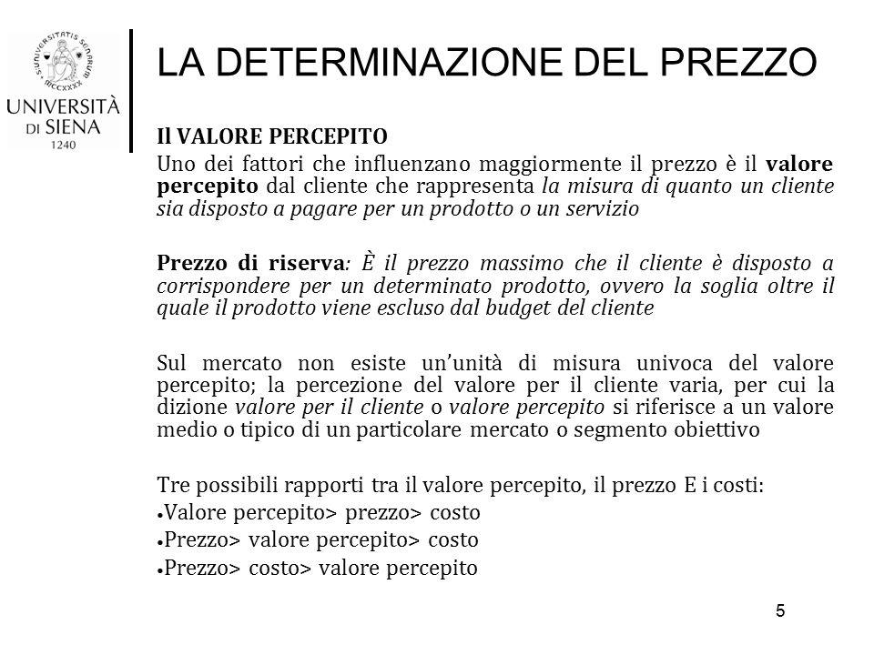 LA DETERMINAZIONE DEL PREZZO Il VALORE PERCEPITO Uno dei fattori che influenzano maggiormente il prezzo è il valore percepito dal cliente che rapprese