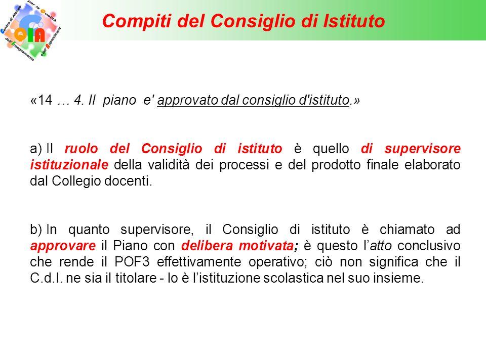 Compiti del Consiglio di Istituto c) Il C.d.I.