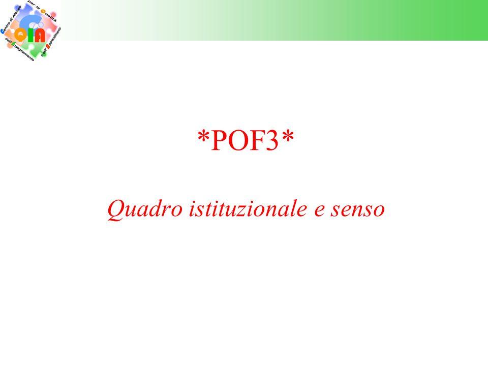 POF3 – Il quadro istituzionale In tale ambito « 2.