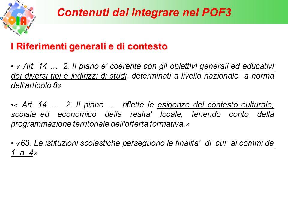 Contenuti dai integrare nel POF3 II Articolazione dell' «offerta formativa» « 14.