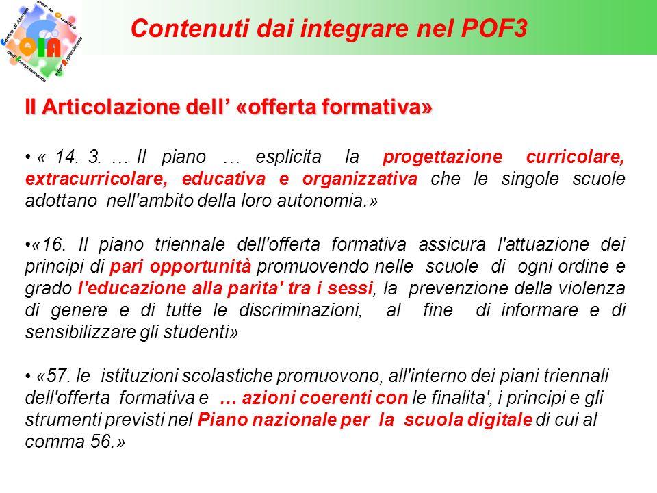 Contenuti dai integrare nel POF3 III Fabbisogno di organico « 14 … 2.