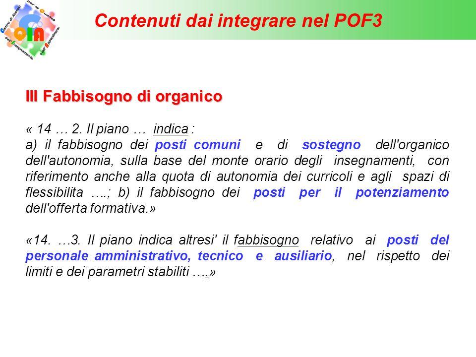 Contenuti dai integrare nel POF3 IV IV Fabbisogno di risorse materiali « 14 …3.
