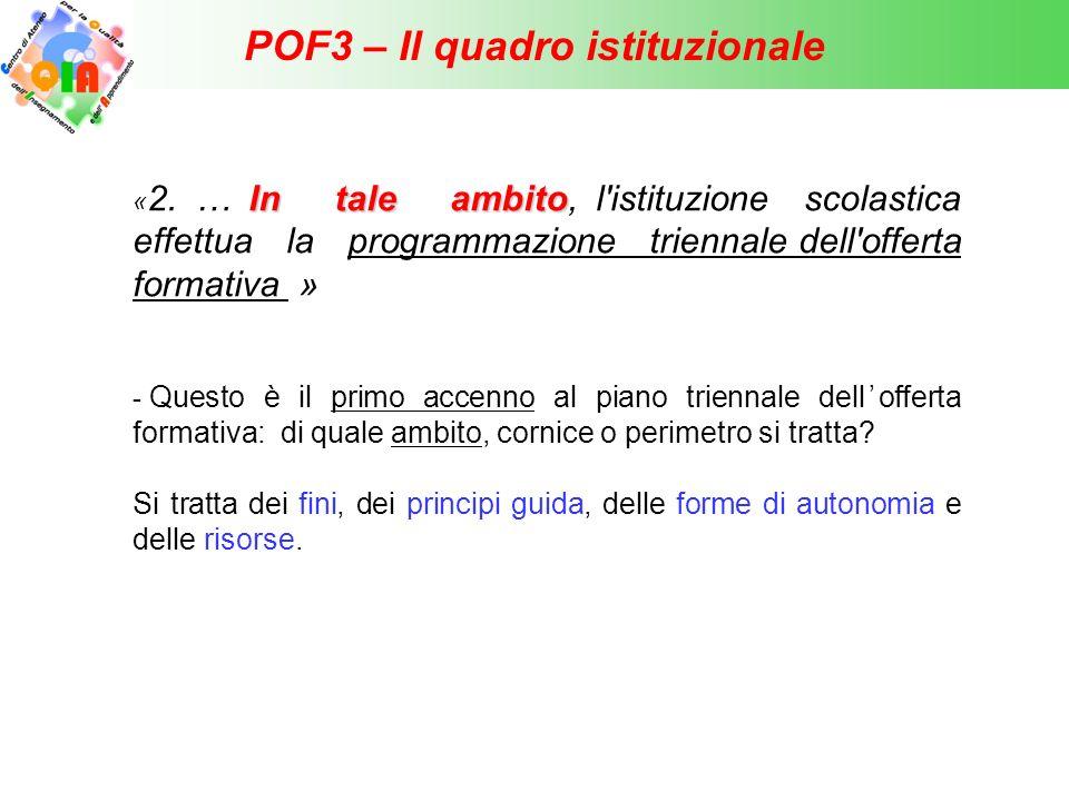 POF3 – Il quadro istituzionale In tale ambito « 2. … In tale ambito, l'istituzione scolastica effettua la programmazione triennale dell'offerta format