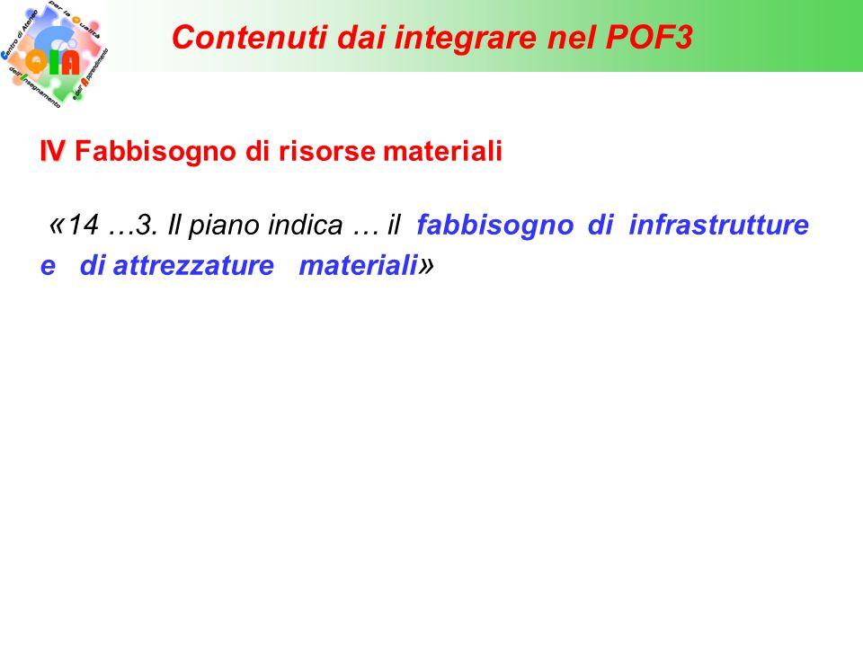 Contenuti dai integrare nel POF3 V Piano della formazione obbligatoria in servizio «12.