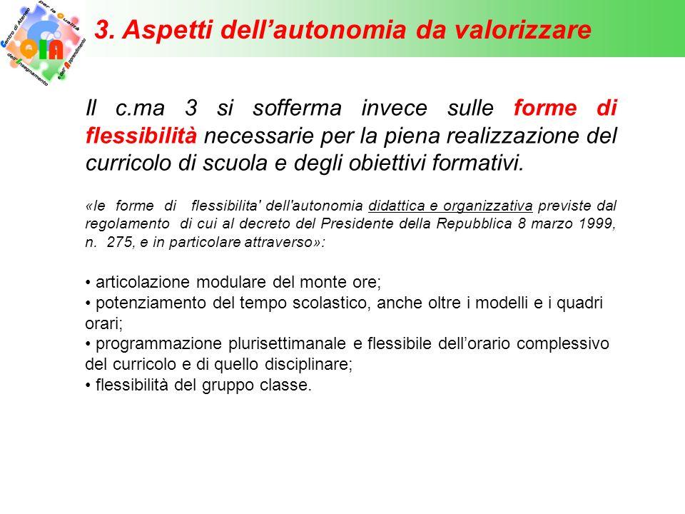3. Aspetti dell'autonomia da valorizzare Il c.ma 3 si sofferma invece sulle forme di flessibilità necessarie per la piena realizzazione del curricolo