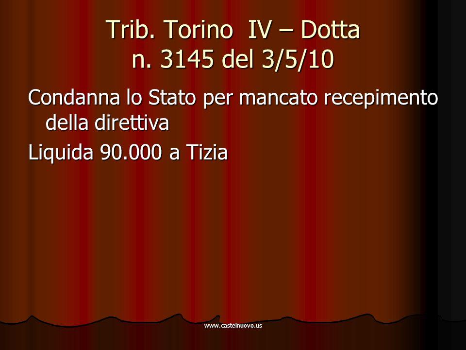 www.castelnuovo.us Trib. Torino IV – Dotta n. 3145 del 3/5/10 Condanna lo Stato per mancato recepimento della direttiva Liquida 90.000 a Tizia