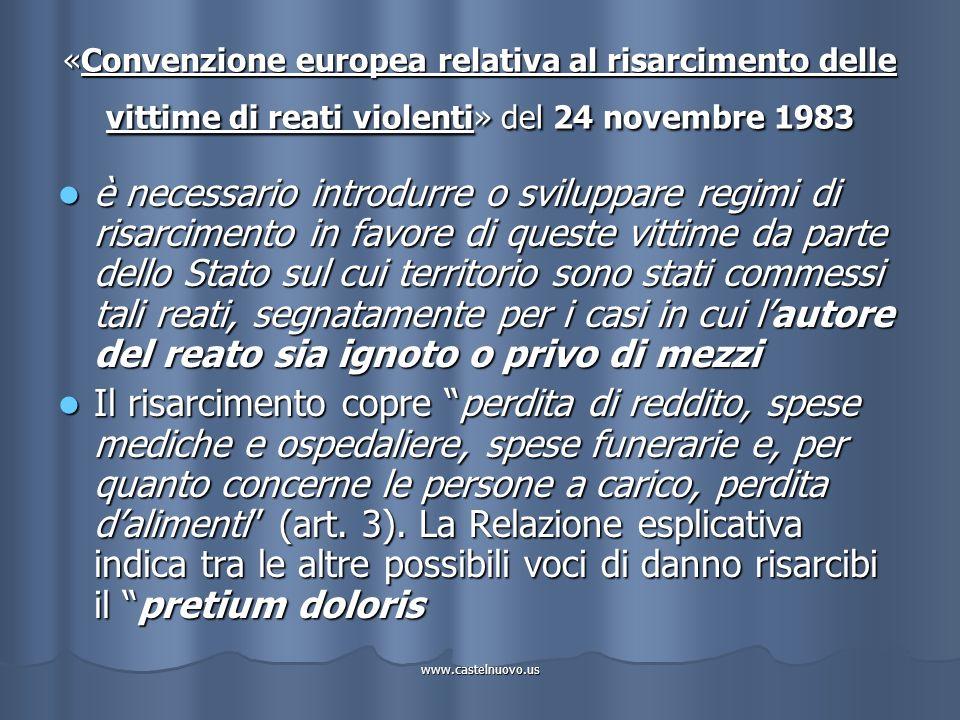 www.castelnuovo.us «Convenzione europea relativa al risarcimento delle vittime di reati violenti» del 24 novembre 1983 è necessario introdurre o svilu