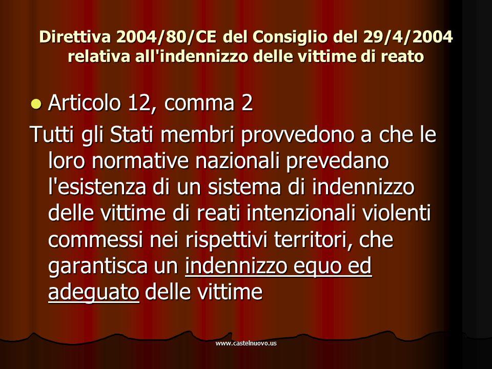 www.castelnuovo.us Direttiva 2004/80/CE del Consiglio del 29/4/2004 relativa all'indennizzo delle vittime di reato Articolo 12, comma 2 Articolo 12, c