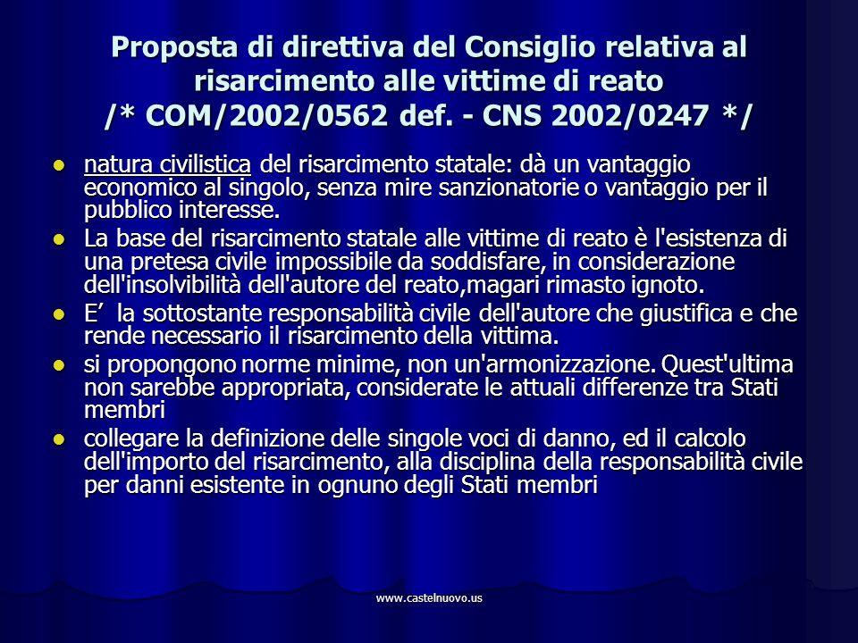 www.castelnuovo.us Proposta di direttiva del Consiglio relativa al risarcimento alle vittime di reato /* COM/2002/0562 def. - CNS 2002/0247 */ natura