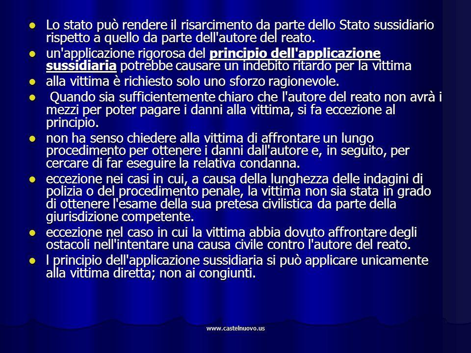 www.castelnuovo.us Lo stato può rendere il risarcimento da parte dello Stato sussidiario rispetto a quello da parte dell'autore del reato. Lo stato pu