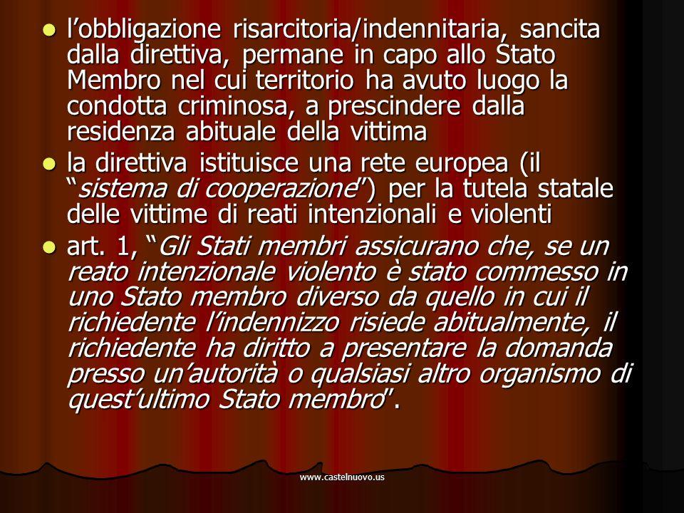 www.castelnuovo.us l'obbligazione risarcitoria/indennitaria, sancita dalla direttiva, permane in capo allo Stato Membro nel cui territorio ha avuto lu