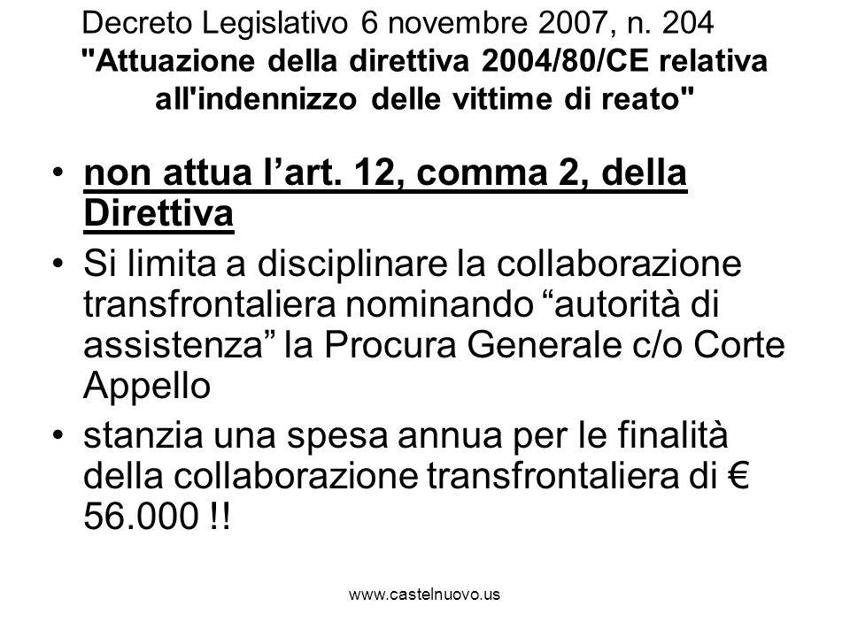 www.castelnuovo.us Decreto Legislativo 6 novembre 2007, n. 204