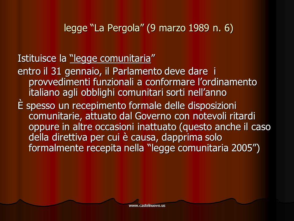 "www.castelnuovo.us legge ""La Pergola"" (9 marzo 1989 n. 6) legge ""La Pergola"" (9 marzo 1989 n. 6) Istituisce la ""legge comunitaria"" entro il 31 gennaio"