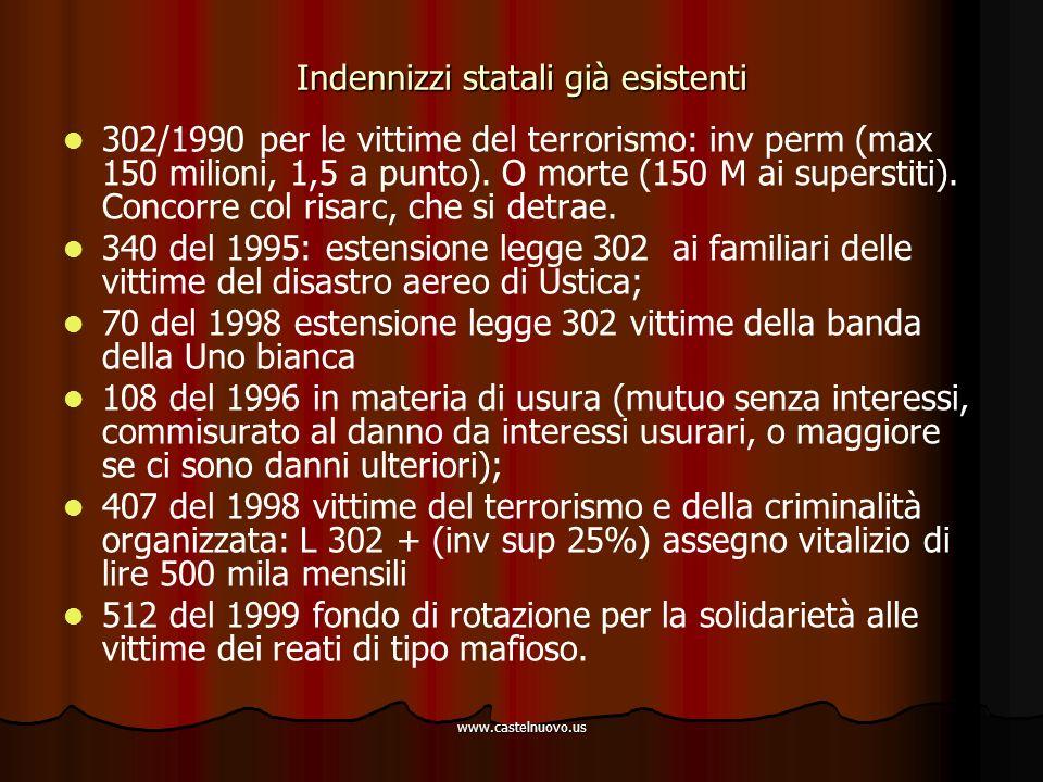 www.castelnuovo.us Indennizzi statali già esistenti 302/1990 per le vittime del terrorismo: inv perm (max 150 milioni, 1,5 a punto). O morte (150 M ai