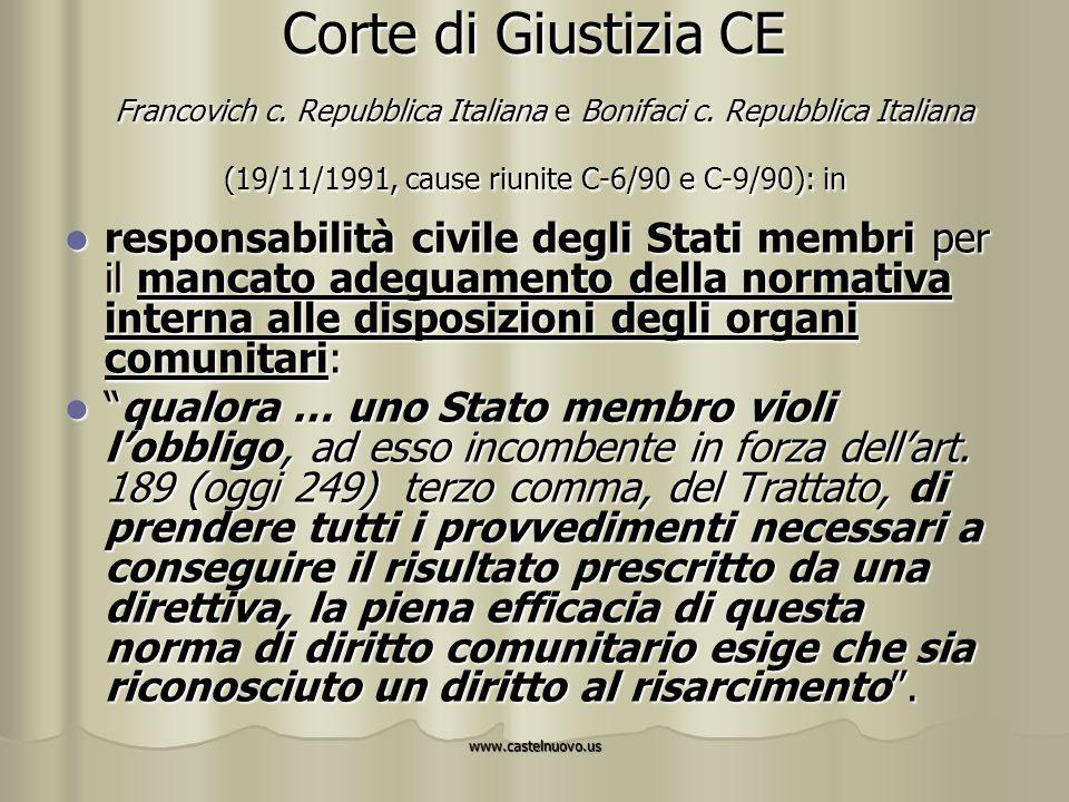 www.castelnuovo.us Corte di Giustizia CE Francovich c. Repubblica Italiana e Bonifaci c. Repubblica Italiana (19/11/1991, cause riunite C-6/90 e C-9/9