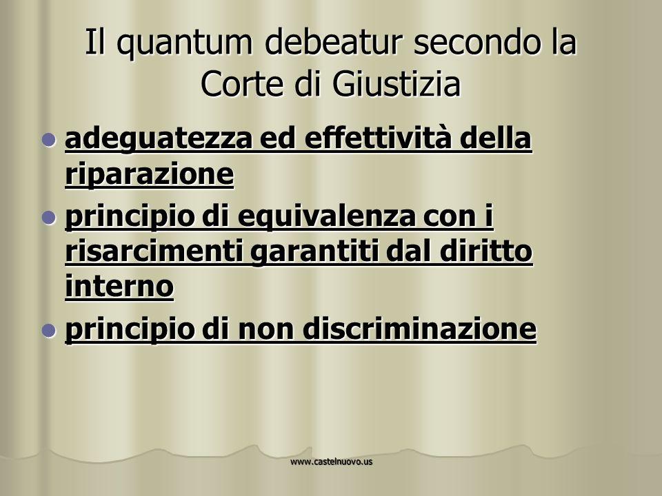 www.castelnuovo.us Il quantum debeatur secondo la Corte di Giustizia adeguatezza ed effettività della riparazione adeguatezza ed effettività della rip