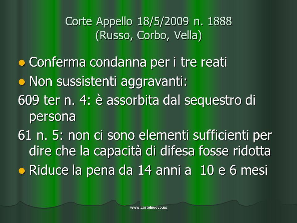 www.castelnuovo.us Corte Appello 18/5/2009 n. 1888 (Russo, Corbo, Vella) Conferma condanna per i tre reati Conferma condanna per i tre reati Non sussi