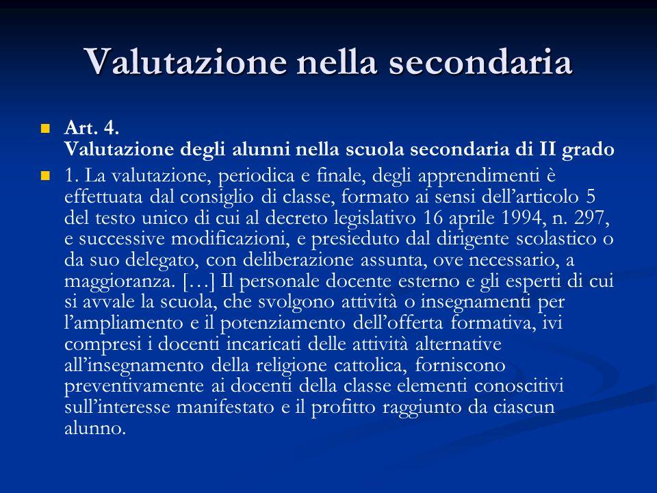 Valutazione nella secondaria Art. 4.