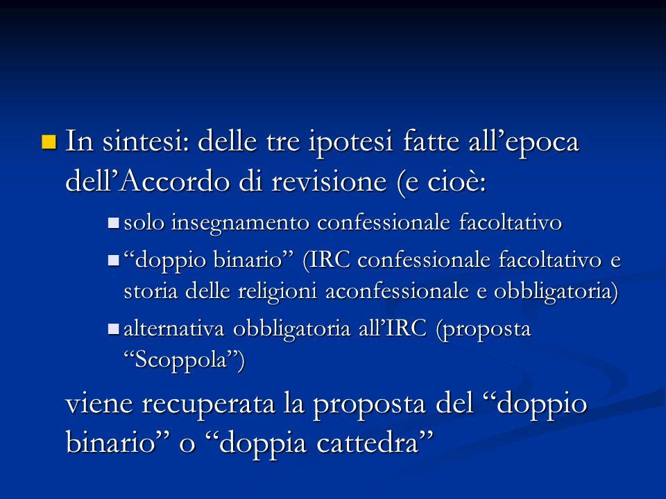 In sintesi: delle tre ipotesi fatte all'epoca dell'Accordo di revisione (e cioè: In sintesi: delle tre ipotesi fatte all'epoca dell'Accordo di revisio